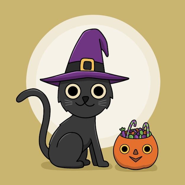 Concepto de gato de halloween dibujado a mano vector gratuito