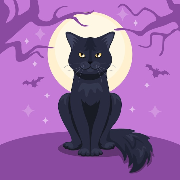 Concepto de gato de halloween de diseño plano vector gratuito