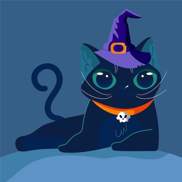 Concepto de gato de halloween vector gratuito