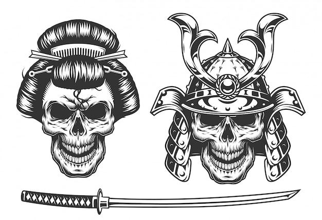 Concepto de geisha y samurai con calavera vector gratuito