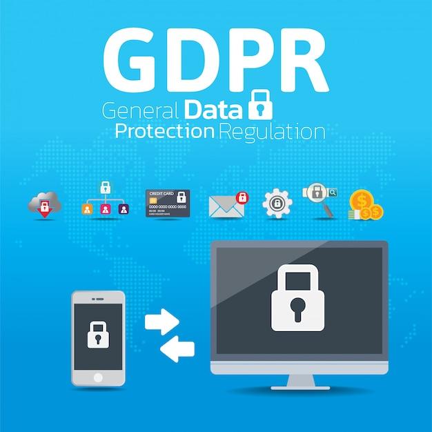 Concepto general de regulación de protección de datos (gdpr). Vector Premium
