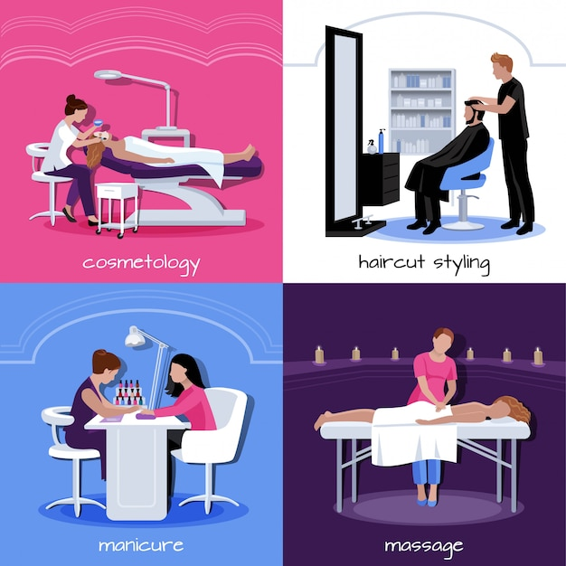 El concepto de la gente del salón de belleza con varios relaja procedimientos con estilo y cosméticos en estilo plano aislado ilustración vectorial vector gratuito