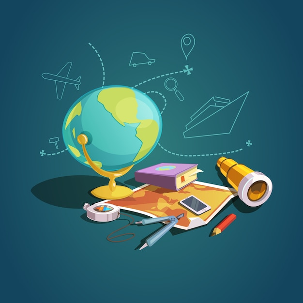 Concepto de geopraphy con conjunto de lección de escuela de dibujos animados retro vector gratuito
