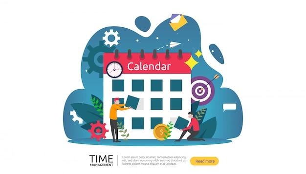 Concepto de gestión del tiempo y dilación. planificación y estrategia para banner de negocios. Vector Premium