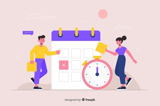Concepto de gestión del tiempo para landing page vector gratuito
