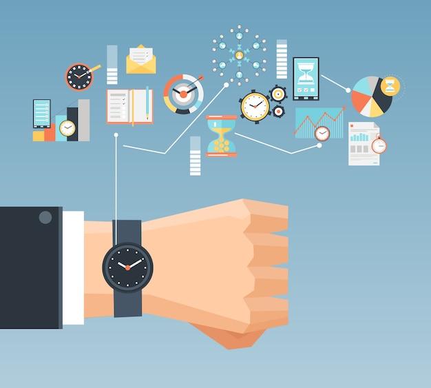Concepto de gestión del tiempo plana composición cartel vector gratuito