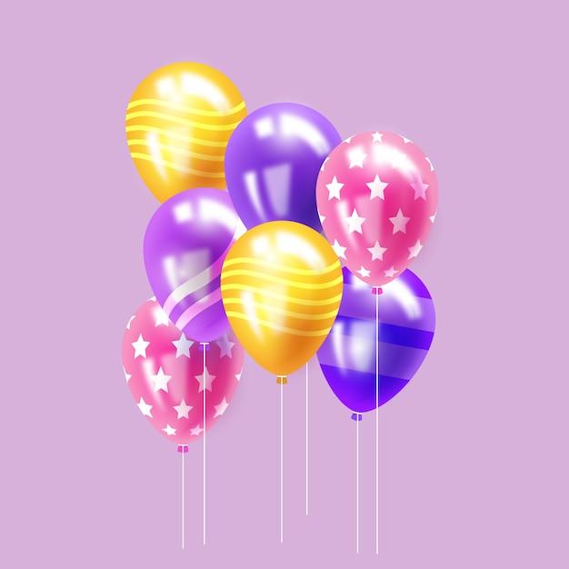 Concepto de globos realistas para celebración de cumpleaños vector gratuito