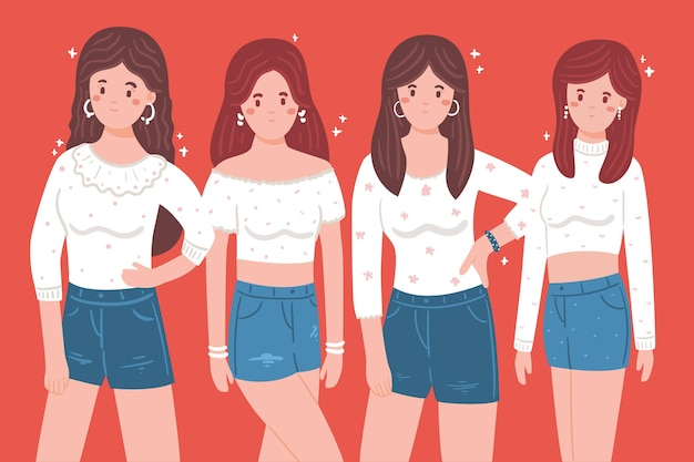 Concepto de grupo de chicas k-pop vector gratuito
