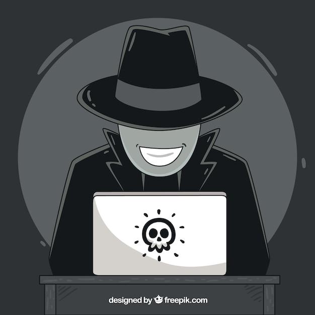 Concepto de hacker anónimo dibujado a mano vector gratuito