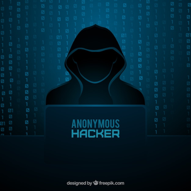 Concepto de hacker anónimo con diseño plano Vector Premium