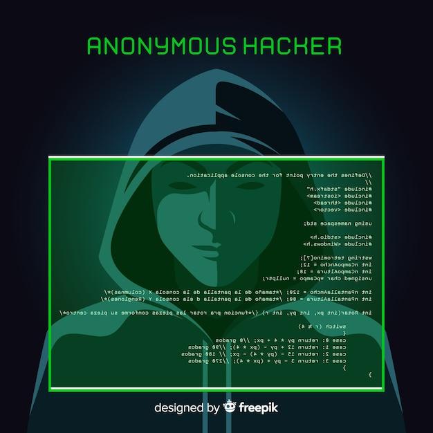 Concepto de hacker anónimo con diseño plano vector gratuito