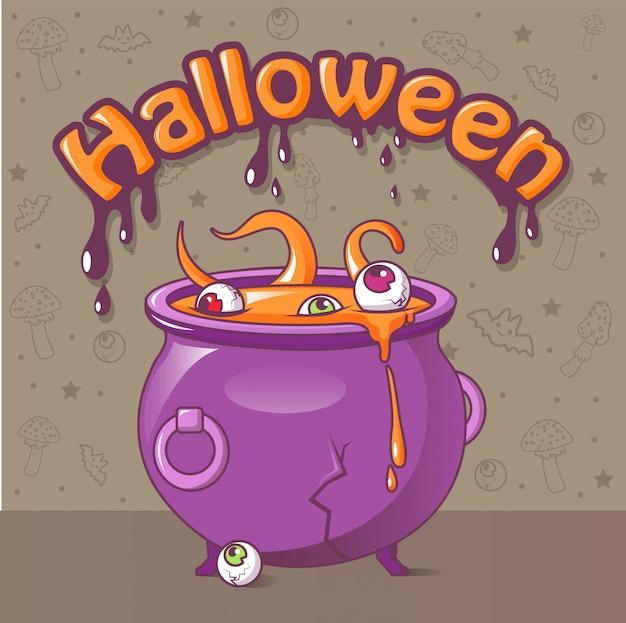 Concepto de halloween, estilo de dibujos animados Vector Premium