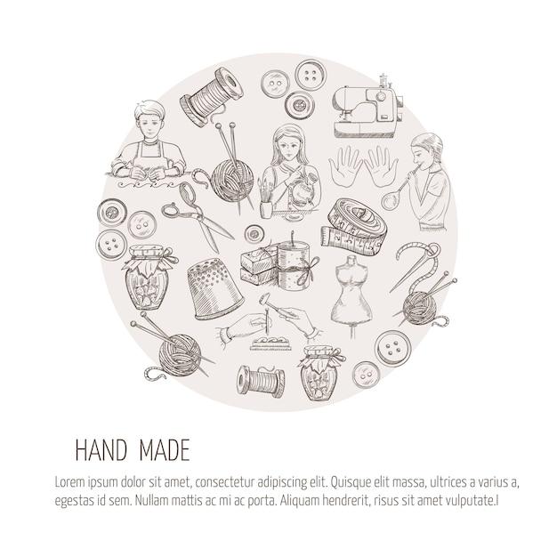 Concepto hecho a mano con iconos de trabajo de vidrio de metal de sastrería vector gratuito