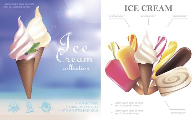 Concepto de helado realista con paletas de helado sabrosos helados en conos de waffle y en palo vector gratuito
