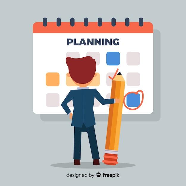 Concepto hermoso de horario de planificación vector gratuito