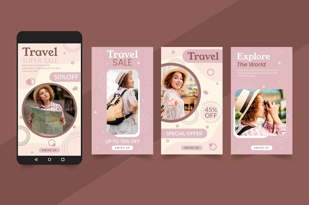 Concepto de historias de instagram de venta de viajes vector gratuito