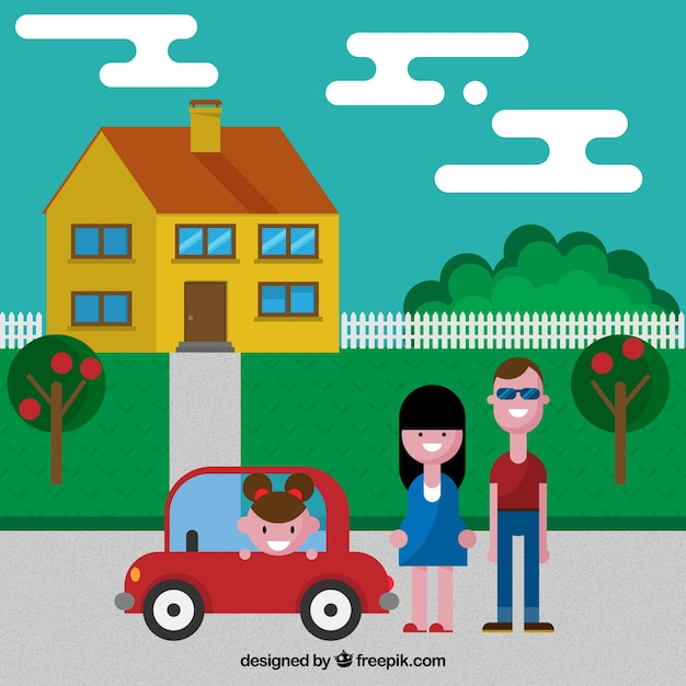 Concepto de hogar de familia vector gratuito