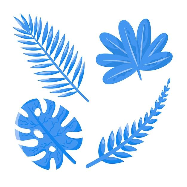 Concepto de hojas tropicales monocromáticas vector gratuito