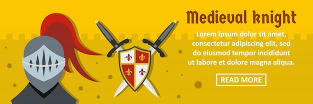 Concepto horizontal de plantilla de banner de caballero medieval Vector Premium