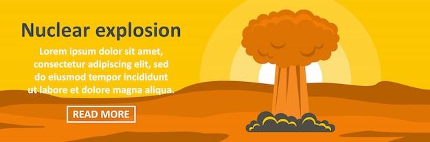 Concepto horizontal de plantilla de banner de explosión nuclear Vector Premium