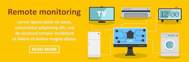 Concepto horizontal de plantilla de banner de monitoreo remoto Vector Premium