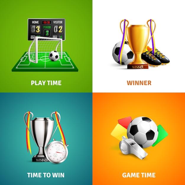 Concepto de iconos de fútbol vector gratuito