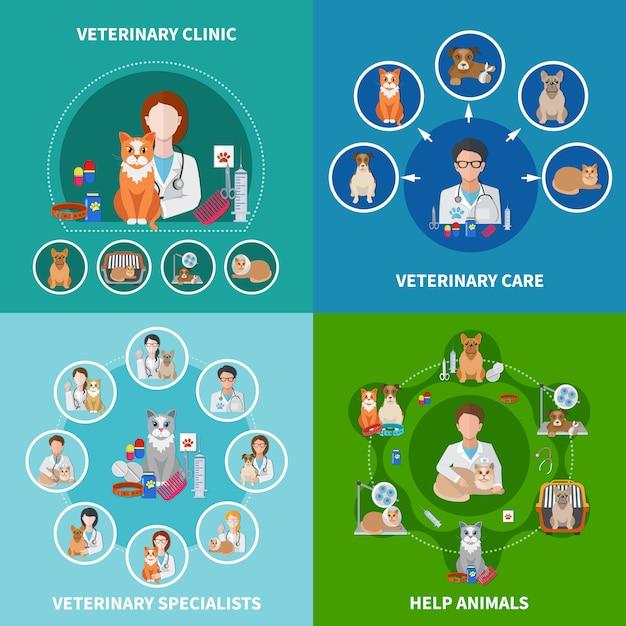 Concepto de iconos planos veterinarios vector gratuito