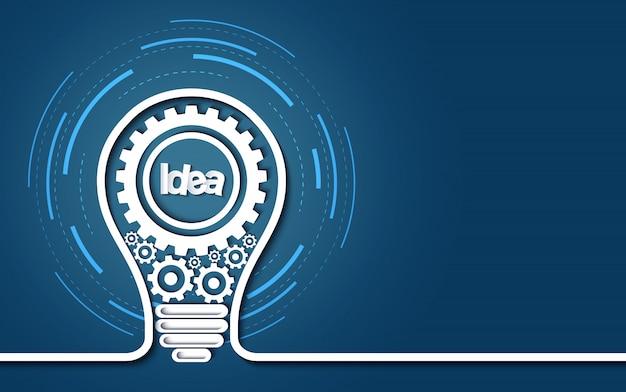Concepto de idea creativa icono de engranaje de bombilla sobre fondo azul. Vector Premium