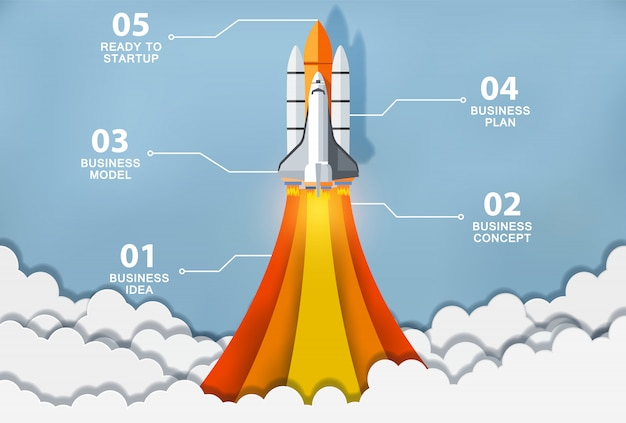 Concepto de idea creativa lanzamiento del transbordador espacial al cielo Vector Premium