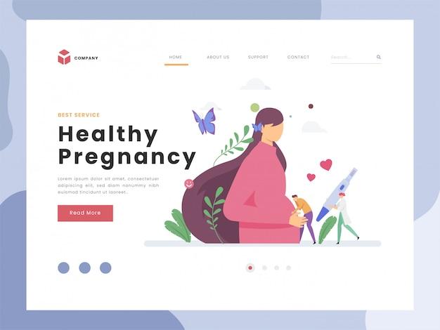 Concepto de idea de ilustración vectorial para plantilla de página de aterrizaje, embarazada, embarazo, hombre de personas minúsculas planas escuchar patadas de bebé, esperando que nazca el bebé. estilo plano Vector Premium