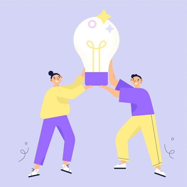 Concepto de idea lluvia de ideas. dos personajes mujer y hombre con gran bombilla. ilustración de vector plano Vector Premium