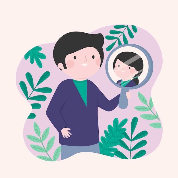 Concepto de identidad de género con espejo vector gratuito