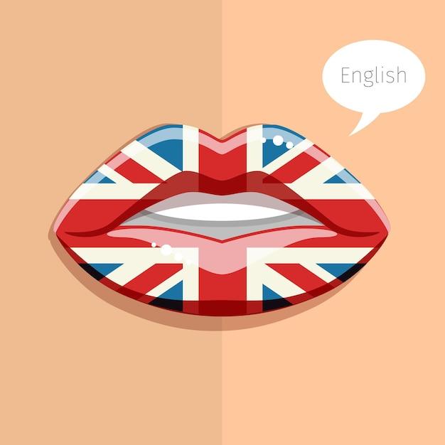 Concepto de idioma inglés. labios de glamour con maquillaje de la bandera británica, rostro de mujer. ilustración de diseño plano. Vector Premium