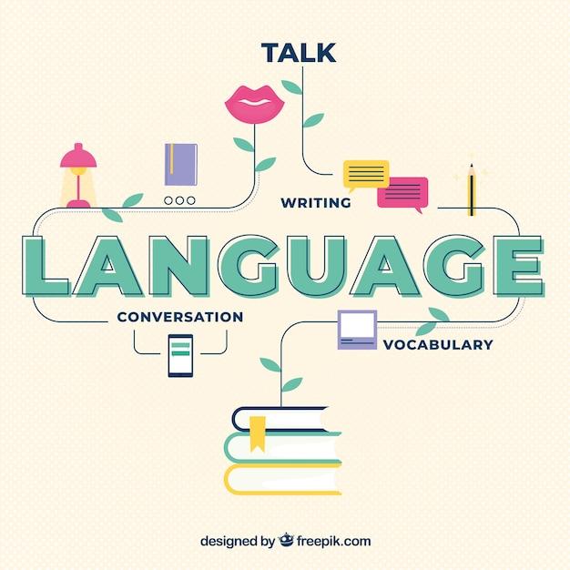 Concepto de idiomas con diseño plano vector gratuito
