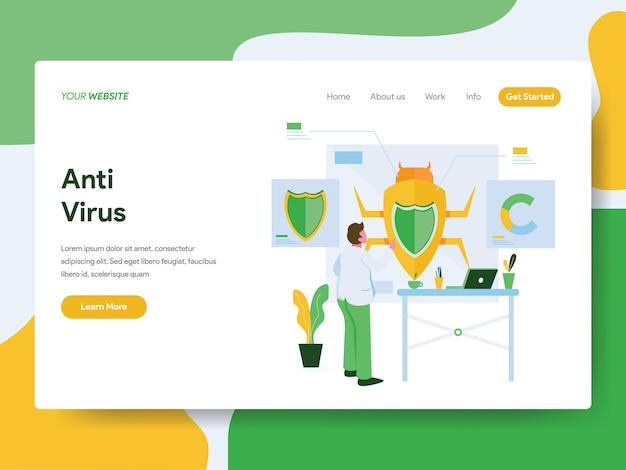 Concepto de ilustración de antivirus. página de destino Vector Premium