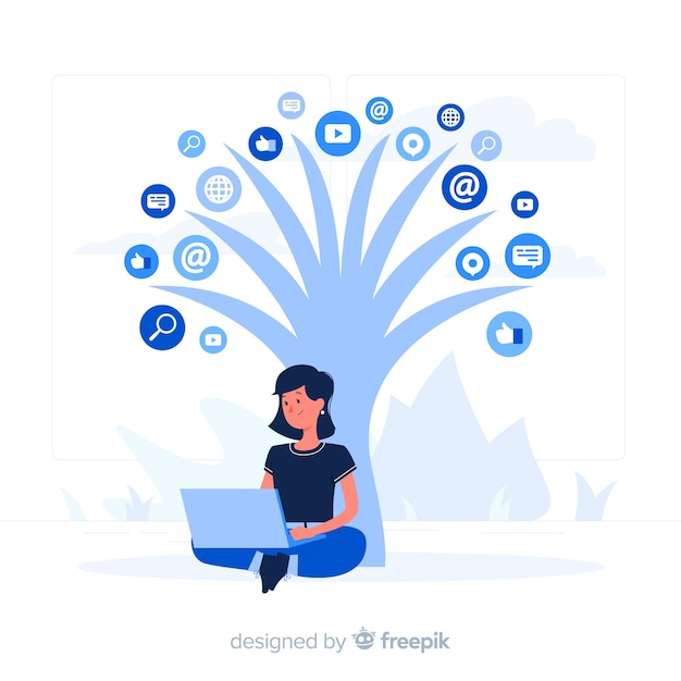 Concepto de ilustración de árbol con redes sociales vector gratuito