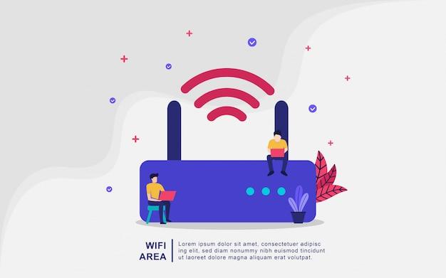 Concepto de ilustración del área wifi. área inalámbrica, wifi gratuito, la gente usa wifi Vector Premium
