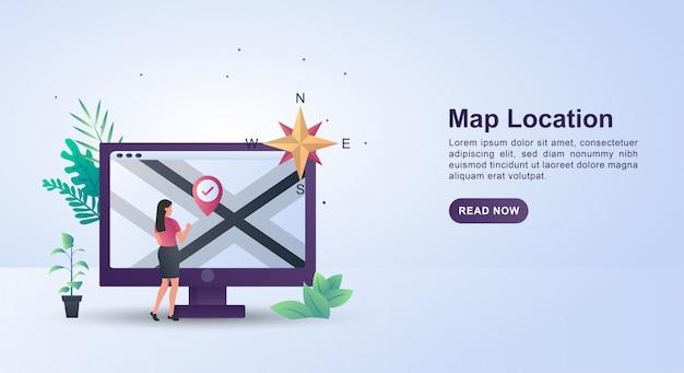 Concepto de ilustración de buscar una ubicación en el mapa con la dirección cardinal. Vector Premium