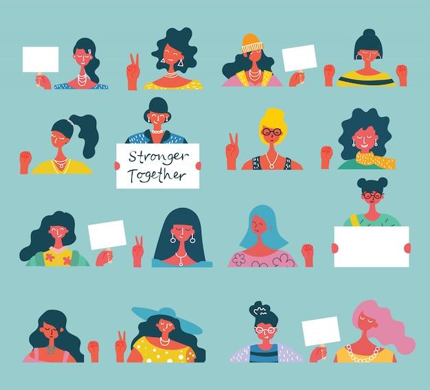 Concepto de ilustración colorida de mujeres felices o activistas de niñas con pancartas y pancartas. grupo de amigas, unión de feministas, ilustración de hermandad Vector Premium