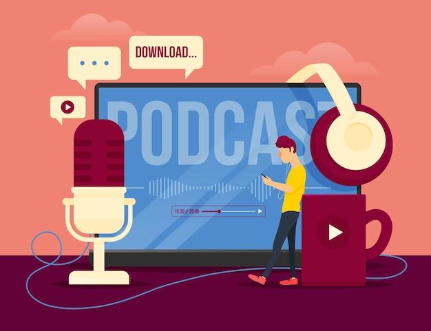Concepto de ilustración de concepto de podcast vector gratuito