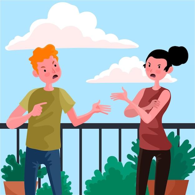 Concepto de ilustración de conflictos de pareja Vector Premium
