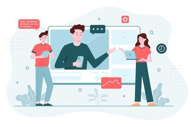Concepto de ilustración de cursos en línea vector gratuito