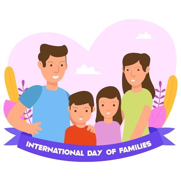 Concepto de ilustración del día internacional de la familia para la página de destino y el sitio web Vector Premium