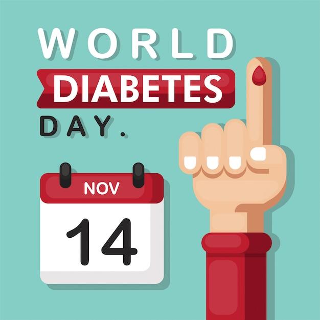 carteles en el símbolo del día mundial de la diabetes