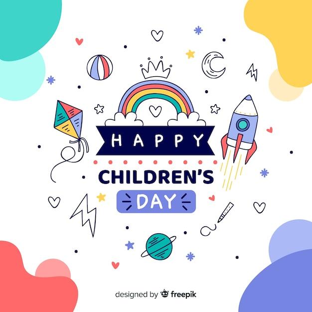 Concepto de ilustración del día de los niños felices vector gratuito