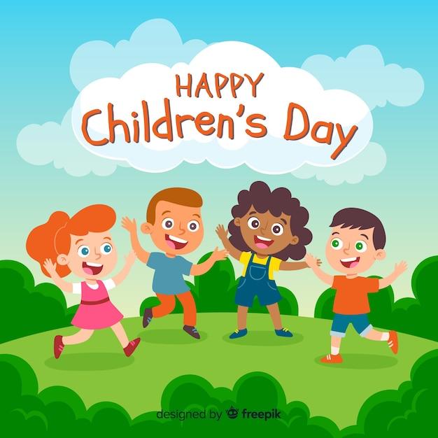Concepto de ilustración para el día de los niños. Vector Premium
