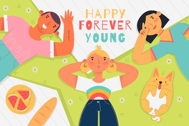 Concepto de ilustración del día plano de la juventud vector gratuito