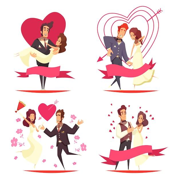 Concepto de ilustración de dibujos animados de recién casados vector gratuito
