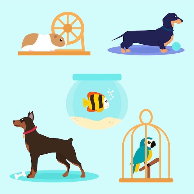 Concepto de ilustración de diferentes mascotas vector gratuito