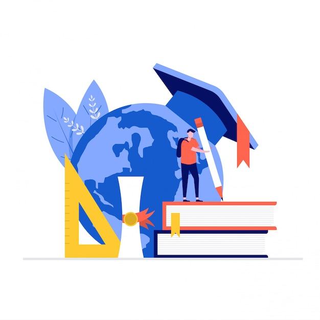 Concepto de ilustración de educación con personajes, mundo, libros, regla. Vector Premium